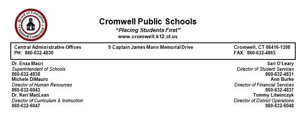 Cromwell Public Schools PJ Day for the Kids Donation Link